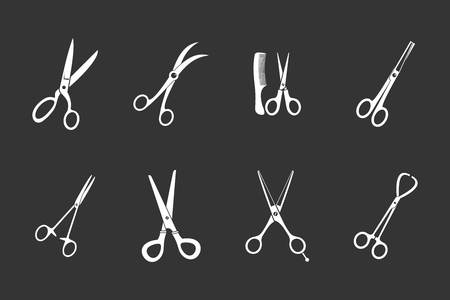 Scissors icon set vector white isolated on grey background