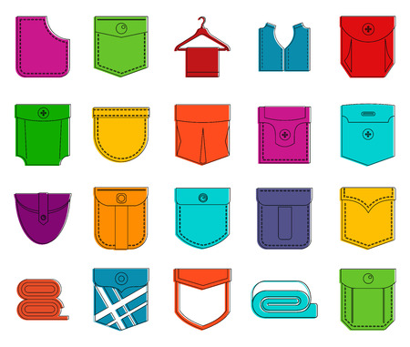 Pocket icon set. Color outline set of pocket vector icons for web design isolated on white background