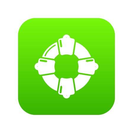 Lifebuoy icon green vector isolated on white background Illustration