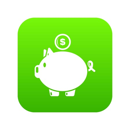 Pig money icon green vector isolated on white background Illustration