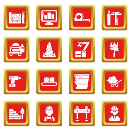 Building process icons set vector red square isolated on white background