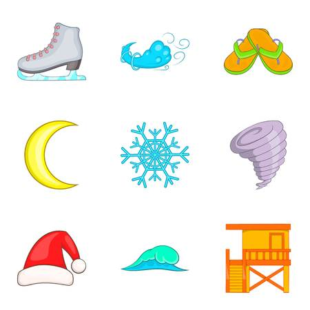 Temperate climate icons set. Cartoon set of 9 temperate climate vector icons for web isolated on white background
