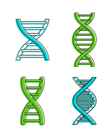 Dna icon set. Color outline set of dna vector icons for web design isolated on white background