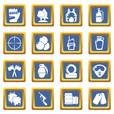 Paintball icons set vector blue square isolated on white background