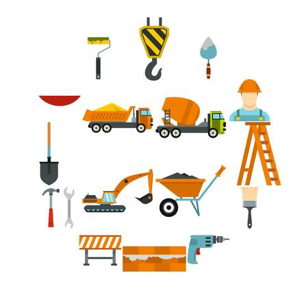 Construction icons set in flat style. Building tools set collection vector illustration Illustration