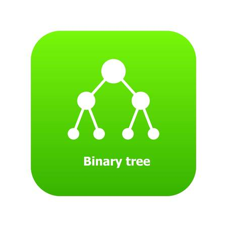 Binnary tree icon green vector isolated on white background Illustration