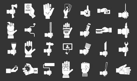 Hand object icon set vector white isolated on grey background