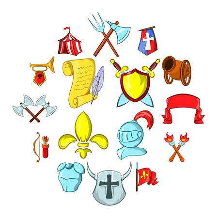 The middle ages icons set isolated on white background. Standard-Bild - 100045296
