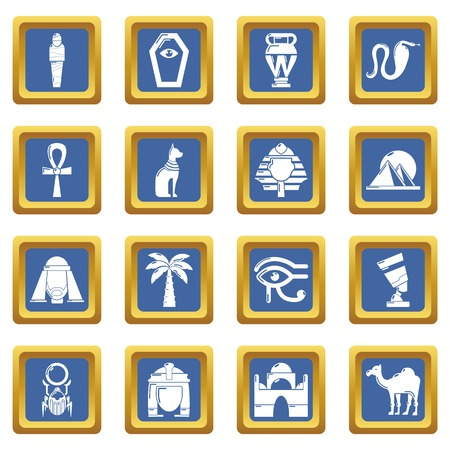 Egypt travel icons set vector blue square isolated on white background
