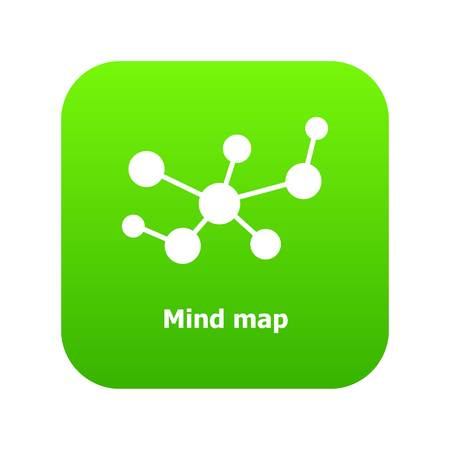 Mind map icon green vector isolated on white background Illustration