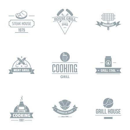 Meat restaurant logo set. Simple set of 9 meat restaurant vector logo for web isolated on white background Illustration