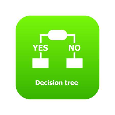 Decision tree icon green vector isolated on white background