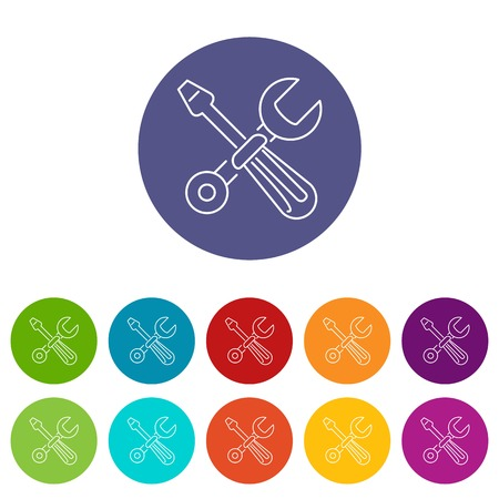Screwdriver and wrench icons color set vector for any web design on white background Illustration