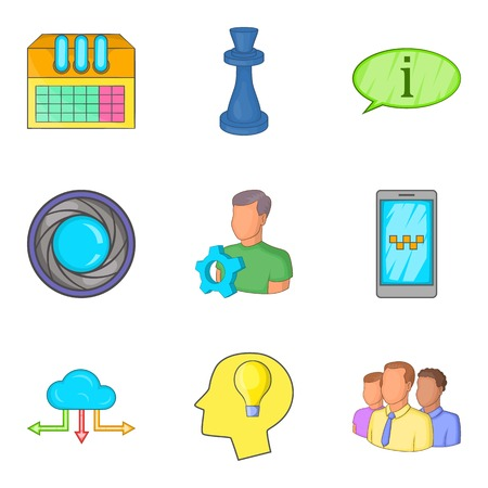 Progressive annex icons set. Cartoon set of 9 progressive annex vector icons for web isolated on white background