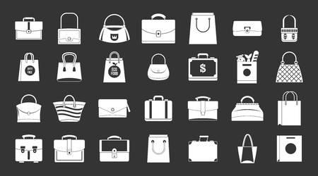 Handbag icon set vector white isolated on grey background