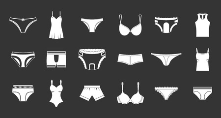 Underwear icon set vector white isolated on grey background