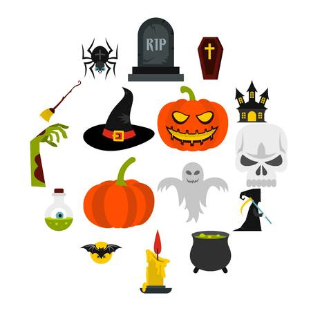 Halloween icons set in flat style. Halloween elements set collection vector illustration Иллюстрация