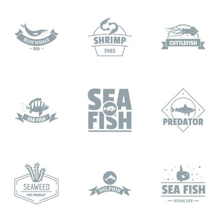 Sea world logo set. Simple set of 9 sea world vector logo for web isolated on white background Illustration