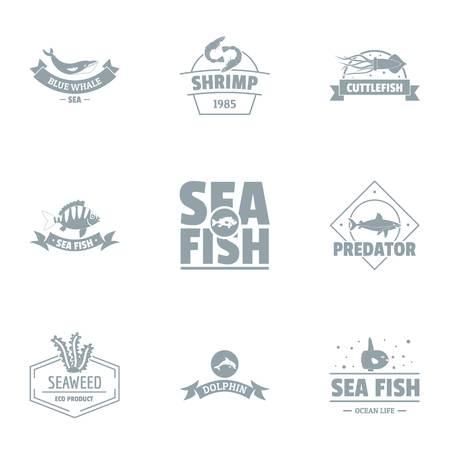 Sea world logo set. Simple set of 9 sea world vector logo for web isolated on white background Ilustrace
