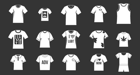 T-shirt icon set vector white isolated on grey background