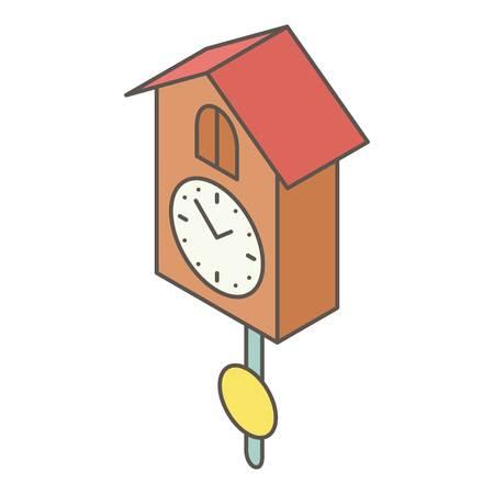 Cuckoo clock icon. Isometric illustration of cuckoo clock vector icon for web