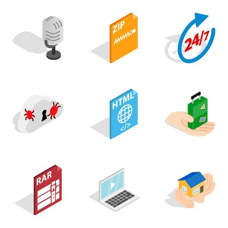 Computer expert icons set. Isometric set of 9 computer expert vector icons for web isolated on white background 向量圖像