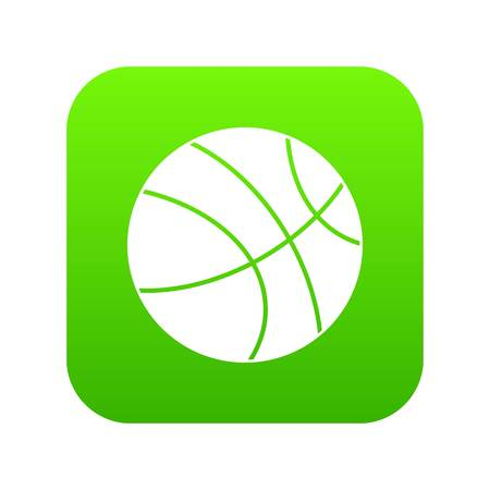 Basketball ball icon digital green for any design isolated on white vector illustration