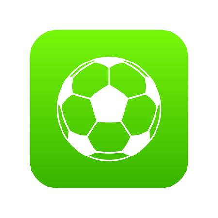 Football or soccer ball icon digital green for any design isolated on white vector illustration