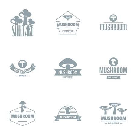 Fungus logo set. Simple set of 9 fungus vector logo for web isolated on white background Ilustrace