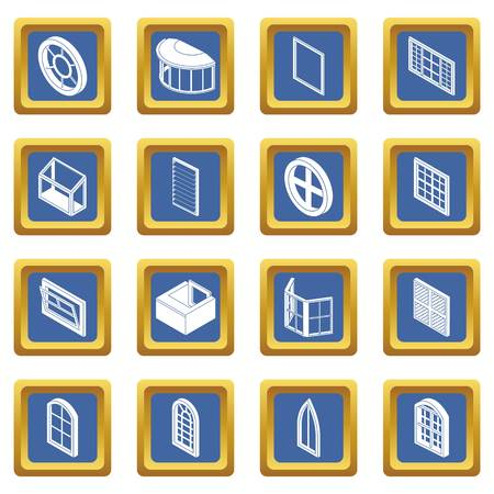 Window forms icons set vector blue square isolated on white background