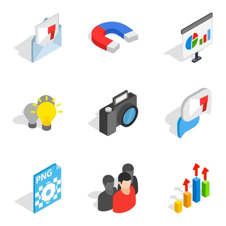 Work on computer icons set. Isometric set of 9 work on computer vector icons for web isolated on white background