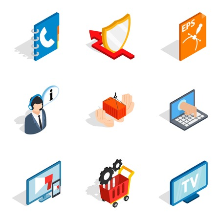 Hardware address icons set. Isometric set of 9 hardware address vector icons for web isolated on white background 向量圖像