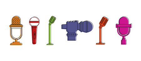 Microphone icon set. Color outline set of microphone vector icons for web design isolated on white background