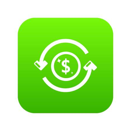 Circulation money icon green vector isolated on white background