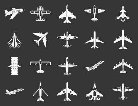 Plane icon set vector white isolated on grey background