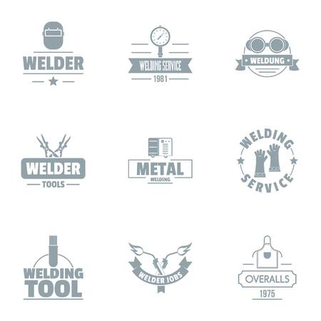 Welding logo set. Simple set of 9 welding vector logo for web isolated on white background  イラスト・ベクター素材