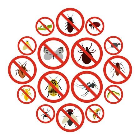 Płaskie nie zestaw ikon znak owadów. Uniwersalne ikony bez znaku owadów do wykorzystania w interfejsie internetowym i mobilnym, zestaw podstawowych elementów bez znaku owadów na białym tle ilustracji wektorowych