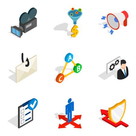 World Wide web icons set. Isometric set of 9 world wide web vector icons for web isolated on white background