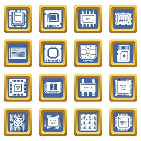 Computer chips icons set vector blue square isolated on white background