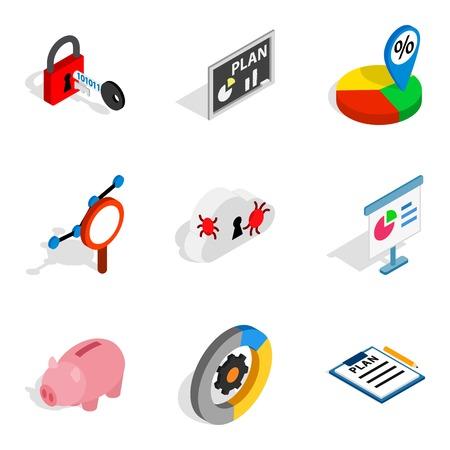 World web icons set. Isometric set of 9 world web vector icons for web isolated on white background Illustration