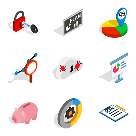 World web icons set. Isometric set of 9 world web vector icons for web isolated on white background 版權商用圖片 - 100065730