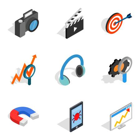 Equipment setup icons set. Isometric set of 9 equipment setup vector icons for web isolated on white background.