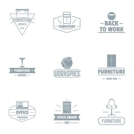 Office work logo set. Simple set of 9 office work vector logo for web isolated on white background