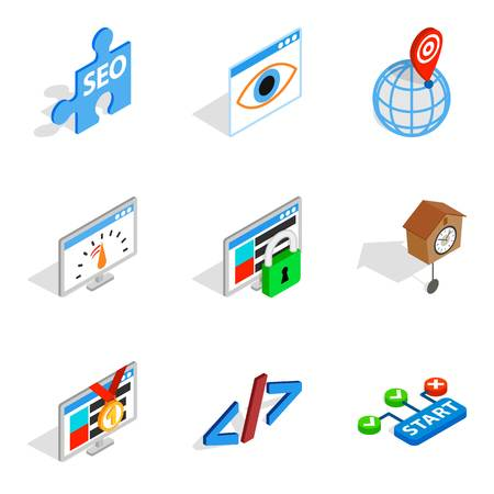 Server installation icons set. Isometric set of 9 server installation vector icons for web isolated on white background