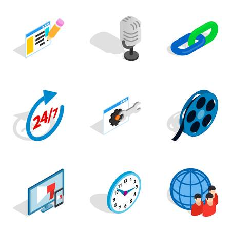 Install icons set. Isometric set of 9 install vector icons for web isolated on white background