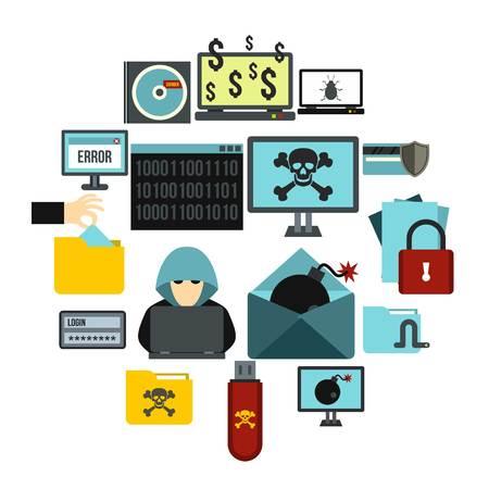 Flat criminal activity icons set. Universal criminal activity icons to use for web and mobile UI, set of basic criminal activity elements isolated vector illustration