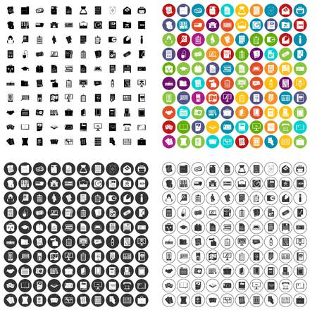 100 document icons set vector in 4 variant for any web design isolated on white 向量圖像