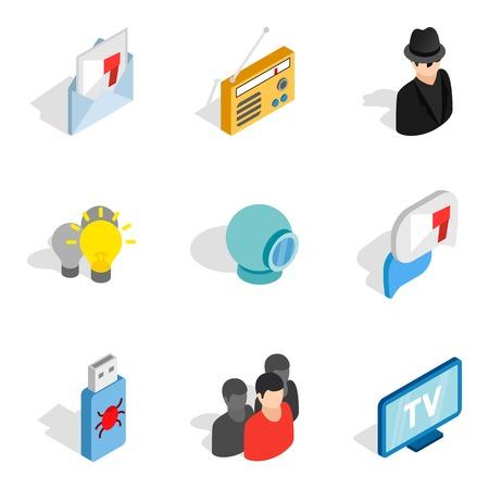 Web install icons set. Isometric set of 9 web install vector icons for web isolated on white background Illusztráció