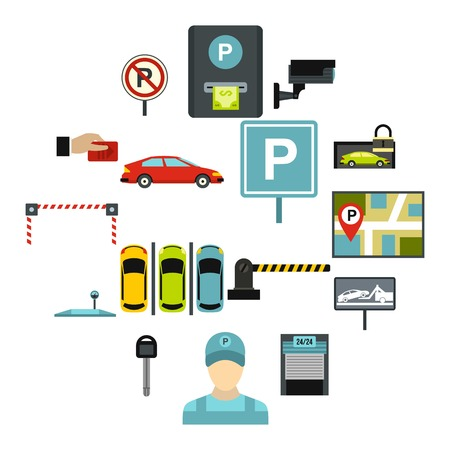Flat car parking icons set. Universal car parking icons to use for web and mobile UI, set of basic car parking elements isolated vector illustration