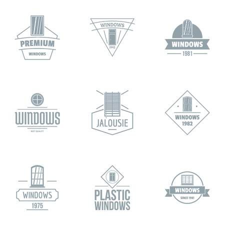 Plastic window logo set. Simple set of 9 plastic window vector logo for web isolated on white background